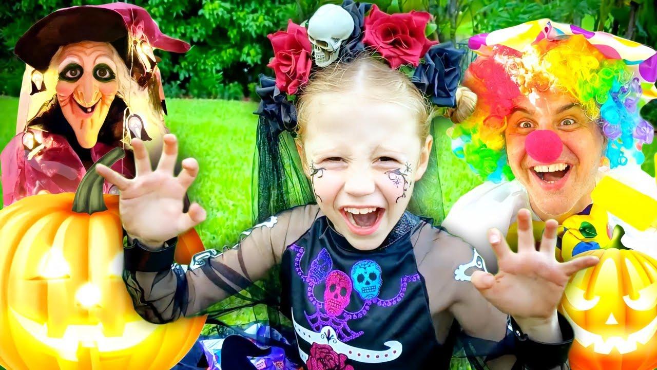 Nastya colecciona dulces para Halloween, historias de Halloween para niños