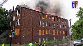 Detroit Fire Department: Apartment Building Blaze, Elsemere & Lane, USA,  08/20/2016.