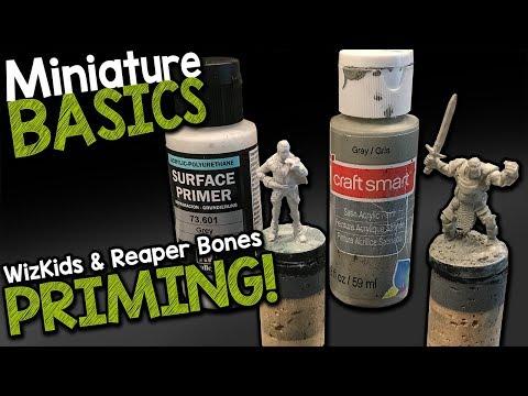 MINI BASICS - PRIMING REAPER BONES & WIZKIDS MINIATURES (Black Magic Craft Episode 083)
