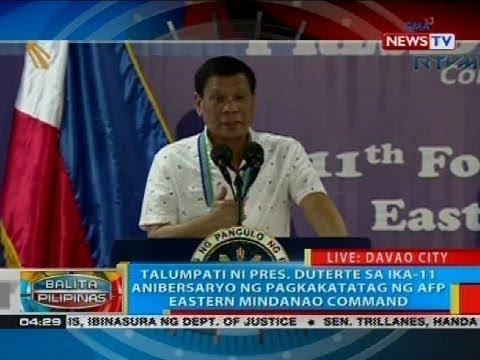 Talumpati ni Pres. Duterte sa ika-11 anibersaryo ng pagkakatatag ng AFP Eastern Mindanao Command