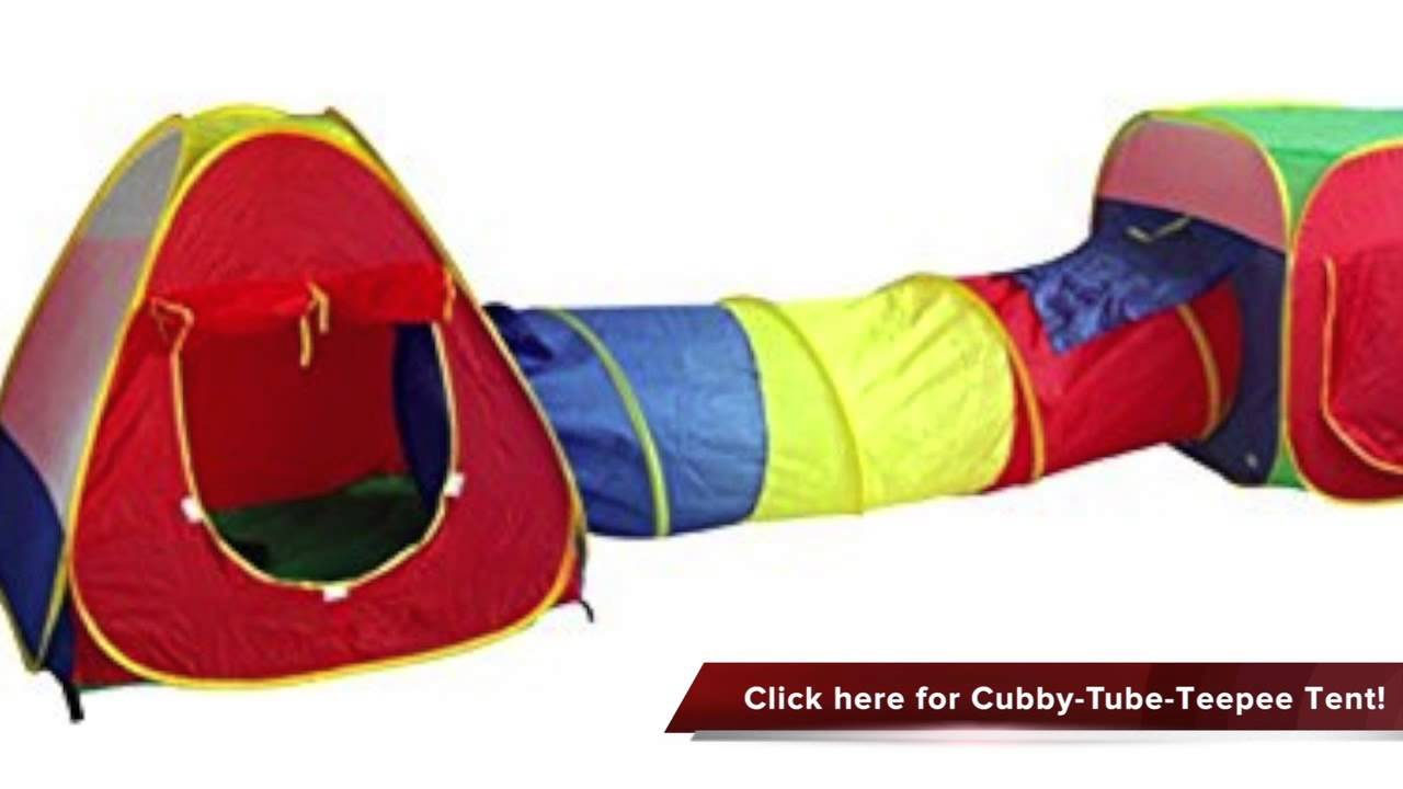 Review of Cubby Tube Teepee 3pc Pop up Play Tent Children Tunnel Kids Adventure Station - YouTube  sc 1 st  YouTube : pop up tent play - memphite.com