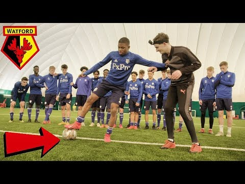 CAN I NUTMEG THE WATFORD FC YOUTH TEAM FOOTBALLERS !? (CRAZY REACTIONS)