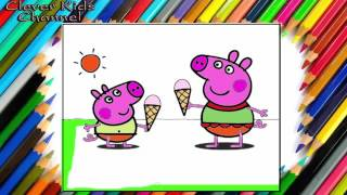 Peppa Pig - Drawing and Coloring Peppa Pig ,George and Ice Cream - Funny Kid Songs