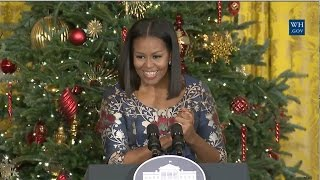 Michelle Obama Welcomes Military Families To View Holiday Decorations