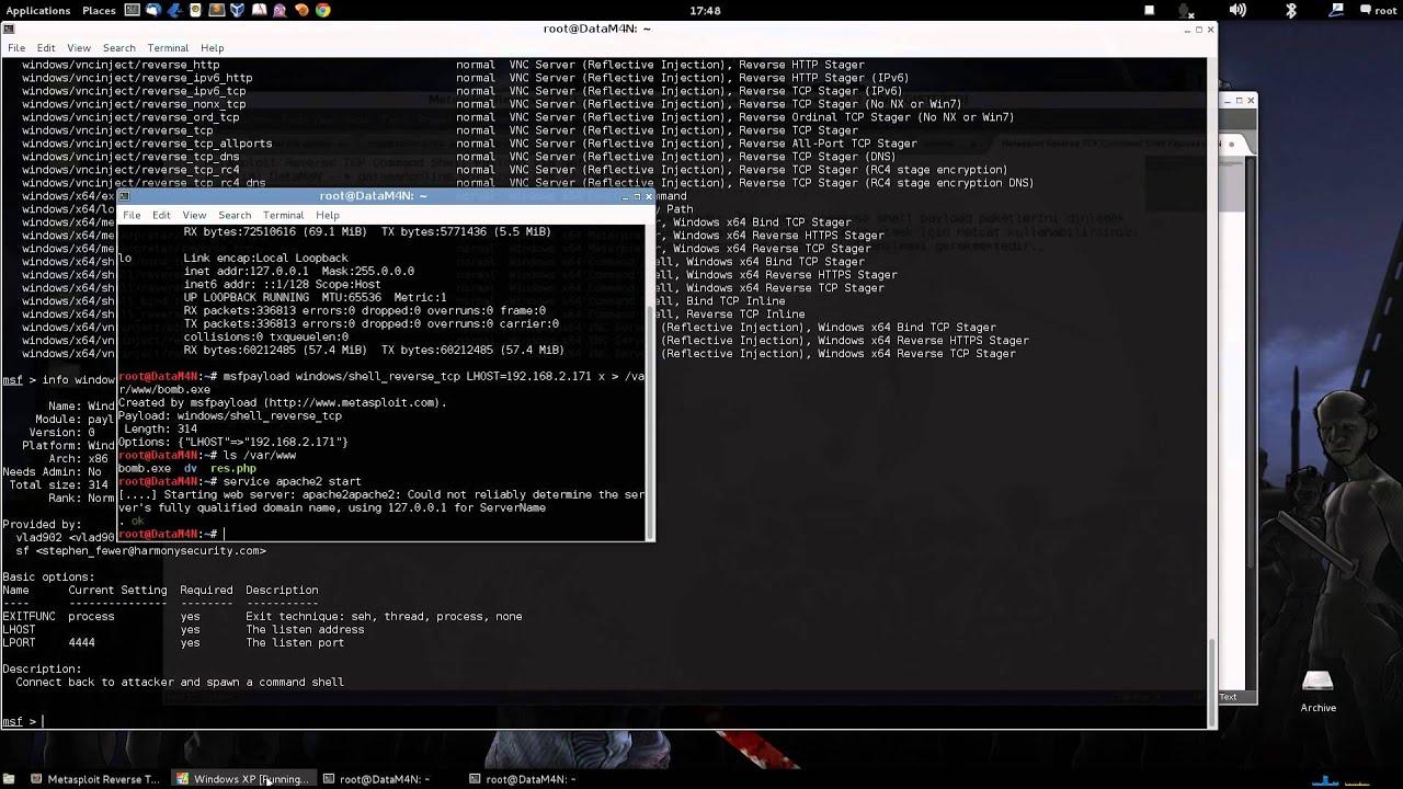 Metasploit Reverse TCP Command Shell Payload & Netcat Listener by DataMaN