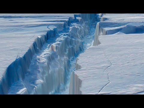 Massive Iceberg Breaks Off from Antarctica; Miles of Ice Collapsing Into the Sea - Compilation