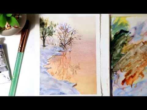 Watercolor Painting | Sunset Snow Lake Landscape