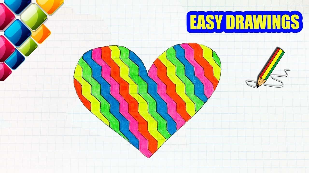 Easy Drawings 313 How To Draw A Rainbow Heart Drawings For