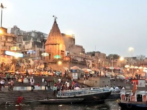 Visulas from Ganga aarti at Varanasi`s Dashashwamedh Ghat after it got preponed due to Lun