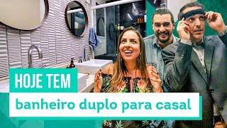 Banheiro com pia dupla para Casal: reforma de suíte - com Beto Siqueira - CASA DE VERDADE