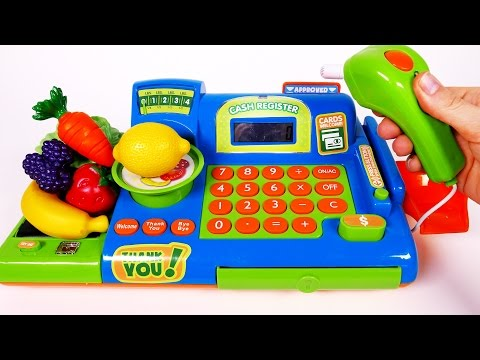 Thumbnail: Cash Register Playset for Children Learn Colors Fruits and Vegetables with Play Pretend Food