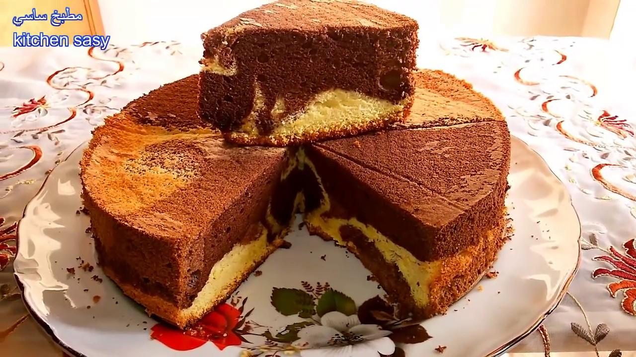 الكيكه الاسفنجيه الرخاميه ( Marble Chiffon Cake) مطبخ ساسى