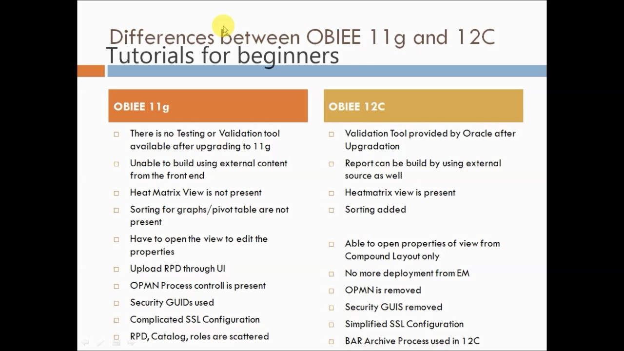 Differences between OBIEE 11g and 12c