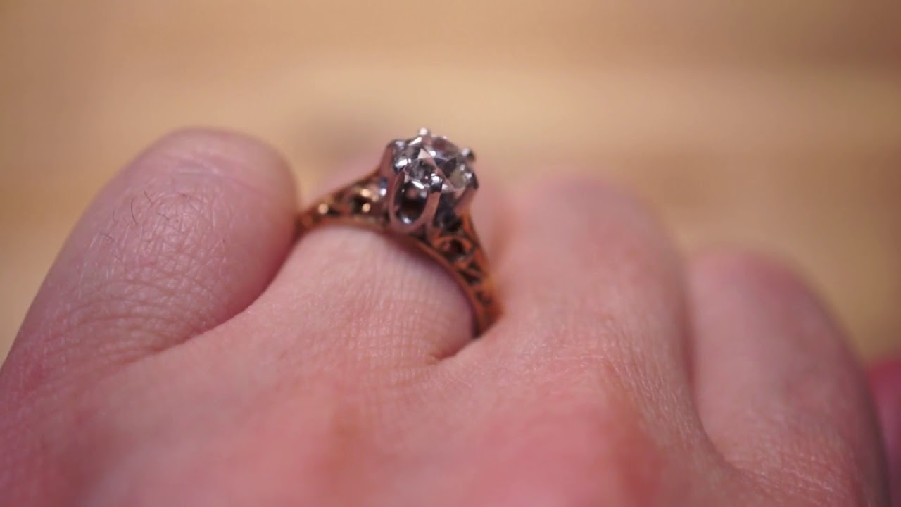 Antique Engagement Ring Victorian .93ct Old European Cut Diamond in ...