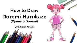 How to Draw Doremi Harukaze from Ojamajo Doremi with Color Pencils [Time Lapse]