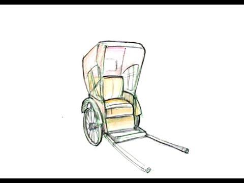 How To Draw A Rickshaw Youtube