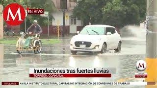 Inundaciones tras fuertes lluvias en Coahuila