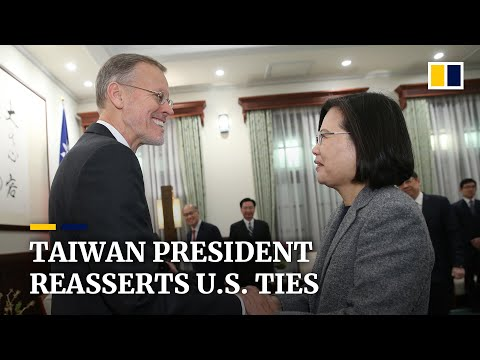 Taiwan's re-elected president Tsai Ing-wen meets US and Japanese envoys to call for closer ties
