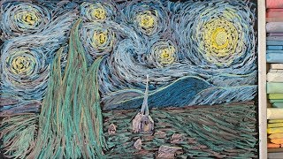 Drawing Starry Night in Chalk?! ♫ Clair de Lune (Classical Music Lullaby)