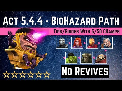 MCOC: Act 5 4 4 -Poison & Bleed BioHazard Path Tips/Guide - No Revives with 5 50 champs-Story Quest