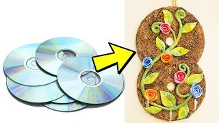 How to Make Key Holder Using Old CD   Reuse Old CD   Easy Best Out of Waste