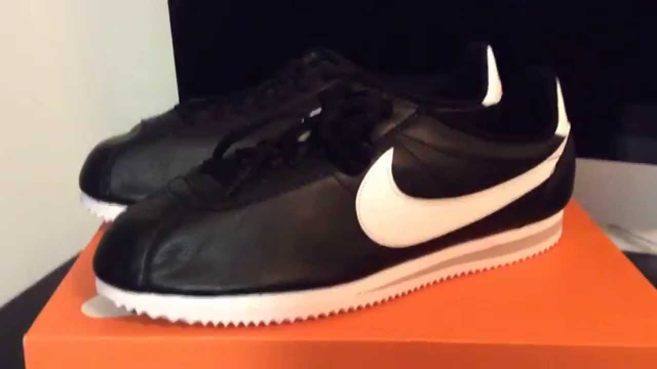 SNKRLOG #35: NIKE CLASSIC CORTEZ PREMIUM QS BLACK WHITE LEATHER (GANGSTA  NIKES) (DOPEMAN NIKES) - YouTube