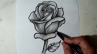 rose drawing shaded draw pencil shading beginners drawings paintingvalley