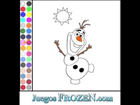 Juego Frozen Colorear Olaf  YouTube