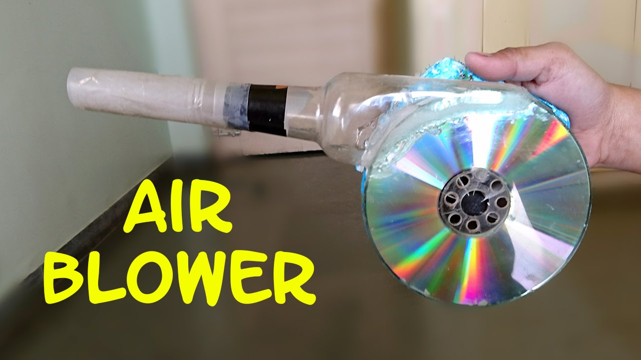 How to make a powerful air blower using cd and bottle for Make project using waste materials