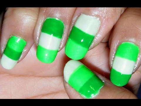 neon green color block nail design