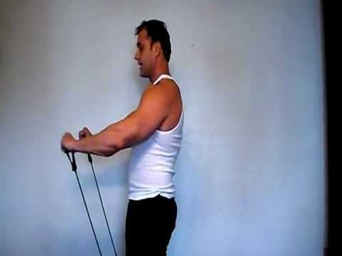 Chest workout using the resistance exercise bands
