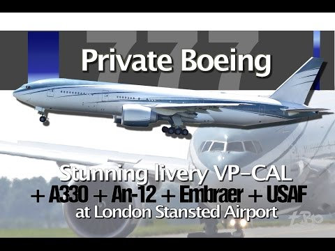 Private Boeing 777 VP-CAL Stunning livery London Stansted Qatar Cavok Moldova USAF Plane Spotting
