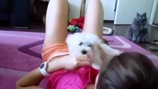 sexy girl with dog very hot video