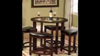 Nice Roundhill Furniture Cylina Solid Wood Glass Top Round Dining Table With 4 Chairs
