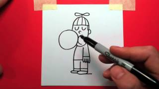 How to draw cartoon kid with bubble gum