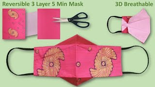 New Style DIY Fabric Face Mask 2 in 1 Easy Pattern Sewing Tutorial 5 Minutes 3 Layer 3D Mask Cloth