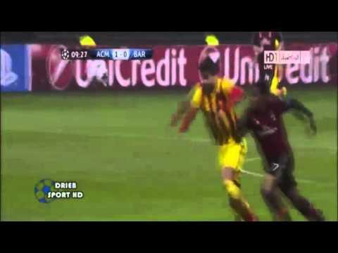 AC Milan Vs Barcelona 1 : 1   Goals & Highlights At  UEFA Champions League   22-10-2013