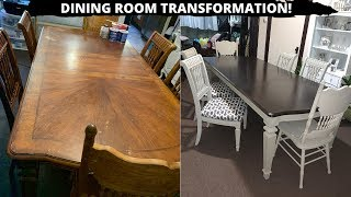 FURNITURE TRANSFORMATION! // DIY DINING ROOM FURNITURE MAKEOVER // EASY & INEXPENSIVE
