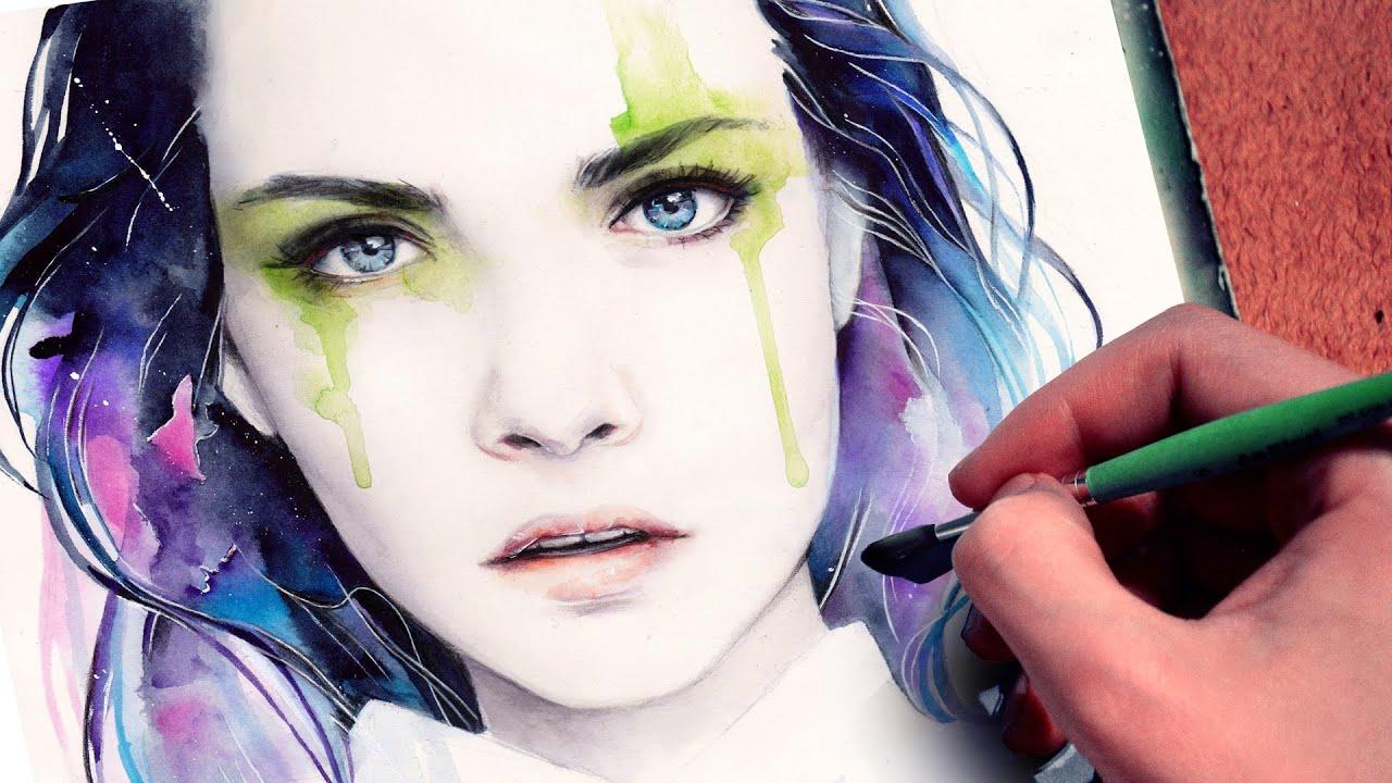 WATERCOLOR PORTRAIT】 Cara Delevingne inspired - YouTube