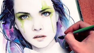【WATERCOLOR PORTRAIT】 Cara Delevingne inspired