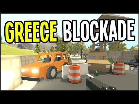 Unturned - RUNNING a MILITARY ROAD BLOCK - Greece Map Survival - Episode 2