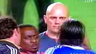 Drogba reacts to the referee's decision at the end of the game.