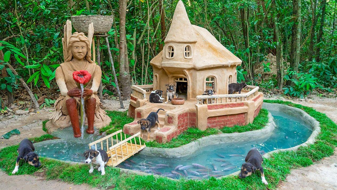 Rescue Cute Puppy Build Dog House And Aquarium Fish Pond Around Dog House