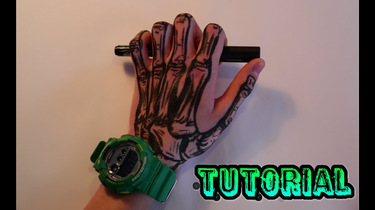 Non-permanent Tattoo Tutorial / Tattoo Stift Tutorial - Skelett ... - Henna Tattoo Stift