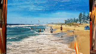 Beach Perth Scarborough Waves - Palette Knife | Brush Oil Painting - Dusan