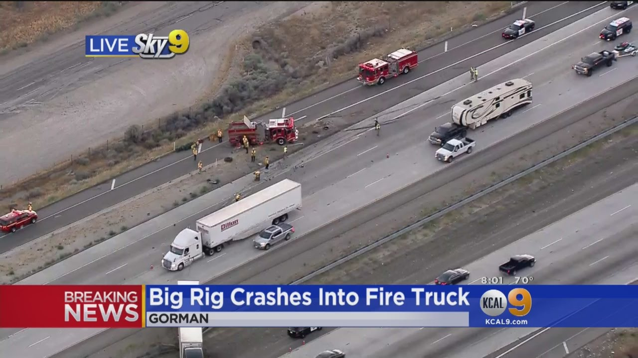 Big Rig Crashes Into Fire Truck Responding To Freeway Accident
