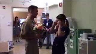 Navy sailor surprises his fiance