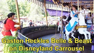 Gaston Heckles Belle & The Beast at Disneyland as they Ride King Arthur Carrousel in Fantasyland