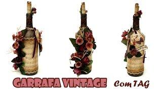 Garrafa Decorada Vintage com TAG