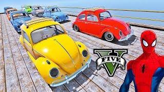 CARROS Fusca com Homem Aranha e Heróis! Carros Clássicos na Mega Rampa - GTA V Mods - IR GAMES